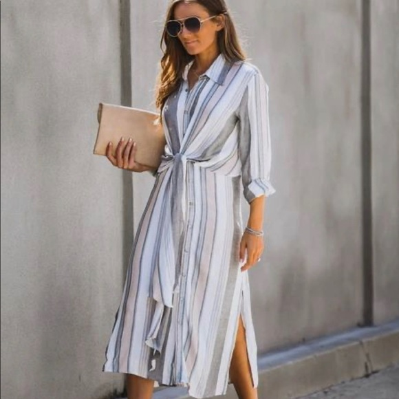 The Tide is High Button Down Tie Front Dress